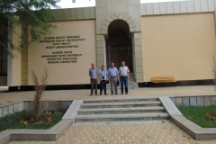 Expedition participants in front of the Alisher Navoi Samarkand State University Scientific-Practical Museum-Laboratory